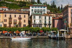 BELLAGIO ON LAKE COMO, ITALY, JUNE 15, 2016. View on coast line of Bellagio city on Lake Como, Italy. Italian landscape city with. Hotels, buildings on the Stock Image