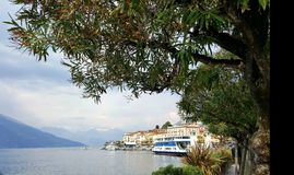 Bellagio on Lake Como, Milan, Italy. Lake ferry at the docks Royalty Free Stock Image