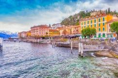 Bellagio pejzaż miejski na Como jeziorze przy zmierzchem Zdjęcie Royalty Free