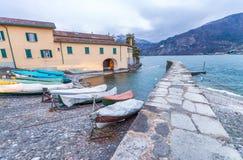 Bellagio pejzaż miejski na Como jeziorze przy zmierzchem Obrazy Stock