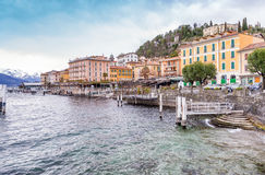Bellagio pejzaż miejski na Como jeziorze przy zmierzchem Obrazy Royalty Free