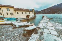 Bellagio pejzaż miejski na Como jeziorze przy zmierzchem Zdjęcia Royalty Free