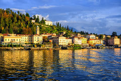 Bellagio resort town on Lake Como, Lombardy, Italy. Bellagio resort town seen from Lake Como on sunset, Lombardy, Italy Royalty Free Stock Photography