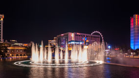 Bellagio`s fountain night show. Las Vegas, Nevada -March 22, 2016: The Bellagio Fountain on Las Vegas Strip. View from the Bellagio hotel and casino royalty free stock photos