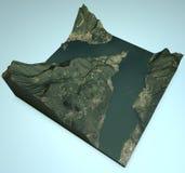 Bellagio, satellite view, map, Lake, Como, Lecco, Italy Stock Photography