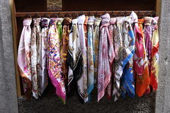 Bellagio, silk scarfs. Collection of silk scarfs outside a shop in Bellagio, Lake Como Stock Photography