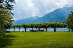 Bellagio stad op Meer Como, Italië Het gebied van Lombardije Italiaans beroemd oriëntatiepunt, het Park van Villamelzi Botanische royalty-vrije stock fotografie