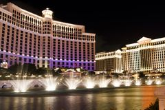 Bellagio Water Show. Bellagio Hotel and Casino during their famous water show stock image