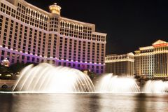 Bellagio Water Show. Bellagio Hotel and Casino during their famous water show royalty free stock photography
