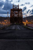 Bellaire Bridge - Ohio River. The risk of being arrested was worth climbing onto the long abandoned Bellaire Bridge over the Ohio River between Bellaire, Ohio stock photos