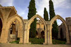 Bellapais Abbey. Gothic arches at Bellapais Abbey in Kyrenia, Cyprus Royalty Free Stock Photo