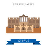 Bellapais Abbey Northern Cyprus flat vector attraction landmark. Bellapais Abbey in Northern Cyprus. Flat cartoon style historic sight showplace attraction web Royalty Free Stock Photo