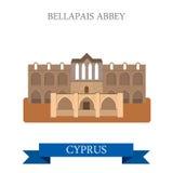 Bellapais Abbey Northern Cyprus flat vector attraction landmark Royalty Free Stock Photo