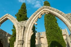 Bellapais Abbey stone arcs Royalty Free Stock Photos