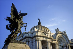 Bellas Artes. Sculpture of pegasus, Bellas Artes Palace, Mexico City Stock Photography