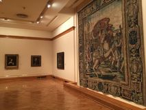 Bellas Artes Museum. Tapestries and paintings inside the Bellas Artes Museum in Buenos Aires Stock Photo