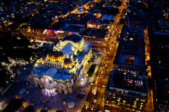 Bellas artes palace at night time. MEXICO CITY,MEXICO-SEPTEMBER 14,2016: Aerial view at night time of the `palacio de bellas artes` located at Mexico city Stock Photos