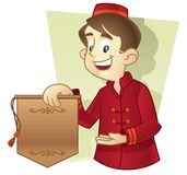 Bellboy. In red uniform showing a hotel promotion. blank sign for copyspace Stock Photography