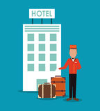 Bellboy baggage hotel service icon, vector. Bellboy baggage luggage building hotel service icon. Colorfull and flat illustration, vector royalty free illustration