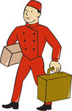Bellboy Bellhop Carry Luggage Cartoon Stock Photography
