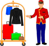 Bellboy hotel service and Luggage trolley Royalty Free Stock Photography