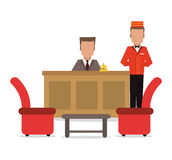 Bellboy receptionist chairs hotel icon, vector Stock Image