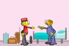 Bellboy and suitcases in the bedroom Royalty Free Stock Photography