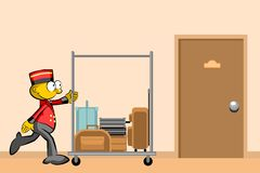 Bellboy and suitcases In the hallway of the hotel Royalty Free Stock Images