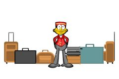 Bellboy and suitcases  on white Stock Photo