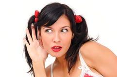Belle écoute de fille Image libre de droits