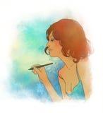 Belle écriture de femme avec le crayon lecteur Photos libres de droits