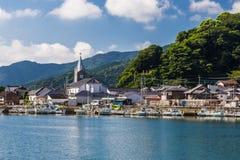 Belle église de Sakitsu dans Amakusa, Kyushu, Japon photographie stock libre de droits