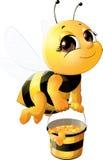 Belle abeille avec un seau illustration stock