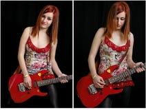 Belle adolescente avec une guitare électrique rouge photos libres de droits
