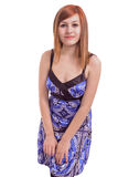 Belle adolescente avec une robe bleue images libres de droits
