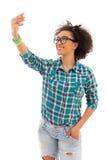 Belle adolescente d'afro-américain prenant une photo Photo stock