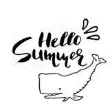 Belle affiche d'été avec le lettrage tiré par la main Image libre de droits