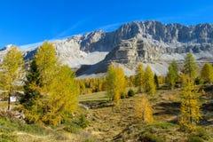 Belle alpi delle dolomia in autunno Fotografia Stock