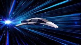 Belle animation abstraite de vaisseau spatial dans le vol de saut d'hyperespace par l'espace extra-atmosphérique animation animat illustration libre de droits