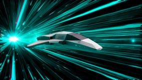 Belle animation abstraite de vaisseau spatial dans le vol de saut d'hyperespace par l'espace extra-atmosphérique animation animat illustration de vecteur