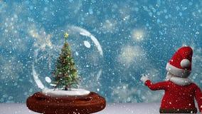 Belle animation de Noël d'arbre de Noël dans le globe et le père noël de neige clips vidéos