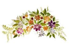 Belle aquarelle peignant beaucoup de fleurs Photographie stock libre de droits