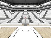 Belle arène de sports pour le basket-ball avec les sièges blancs Photos stock