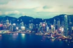 Belle architecture établissant le paysage urbain extérieur de Hong Kong image libre de droits