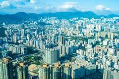 Belle architecture établissant le paysage urbain extérieur de Hong Kong photo stock