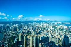 Belle architecture établissant le paysage urbain extérieur de Hong Kong images libres de droits