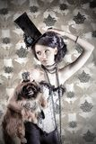 Belle avec pekingese Images stock