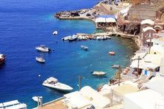 Belle baie d'Amoudi, île de Santorini, Grèce Photo libre de droits