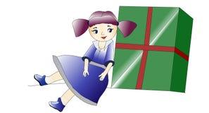 Belle bambola e scatola illustrazione vettoriale