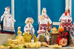 Belle bambole di straccio pieghe dalla Bielorussia ricordo Immagini Stock Libere da Diritti